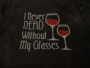 APRON READ AND WINE GLASSES FANCY BLING DESIGN KITCHEN COOKING CHEF APRON