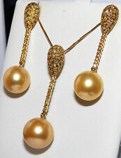 18CT GOLD SOUTH SEA GOLDEN  PEARL 1.75CT DIAMOND PENDANT  & EARRINGS GOLD CHAIN