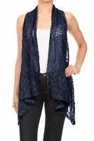 Women Sleeveless Open Front Crochet Shawl Cardigan Bikini Cover Up Out Coat Tops