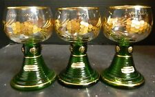 Vintage (3) Bohemian Green & Gold Crystal Etched Grape Goblets Hamburg Excellent