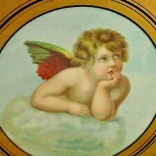 "Antique Victorian Chimney Flue Cover Victorian Cupid Angel Round Glass 7.5"""