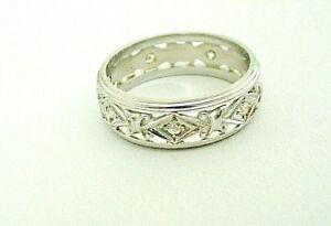 Vintage Art Deco Diamond Wedding Band Ring 14k Cut Out Design Size 7