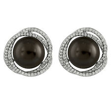 Sterling Silver earrings with CZ and 10mm Black shell pearl OE-11