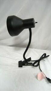 Used Portable Black Shade-Black Stem Clip-on Gooseneck Clip-on Lamp w/warranty