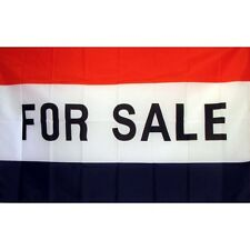 For Sale Flag Banner Sign 3' x 5' Foot Polyester Grommets Red White Blue
