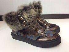 Zecchino Doro Ankle Fur Trim Boots Uk 1 Vgc