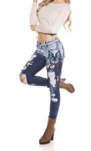 Sexy Women's Distressed Butterfly Decor Skinny Jeans Size 26 Brand New With Tags