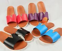 Women's Slide Sandals with Brass Accent 4 Colors to Choose