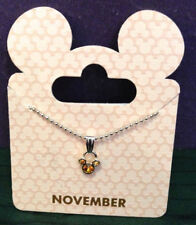 Disney Parks Goldtone Birthstone Necklace Mickey Mouse - November Topaz Citrine