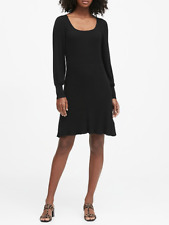 BANANA REPUBLIC Ribbed Square-Neck Sweater Dress XSP XS PETITE in Black Stretchy