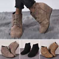 Women's Casual Round Toe Wedge Heel Boots Suede Lace Up Platform Ankle Booties