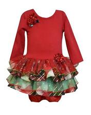 New Girls Bonnie Jean sz 3-6m Red Green Plaid Ruffle Dress Christmas Holiday $52