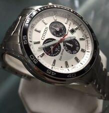 Men's Genuine Citizen Eco Drive Solar Chronograph Panda Black Designer Watch