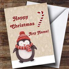Pingouin en chapeau Candy Cane Personnalisé Enfants Carte De Noël
