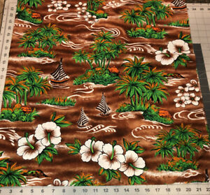 """Tropical Brown/Green Cotton Fabric 44"""" wide x 34"""" Palm Trees Orchids Boats Huts"""