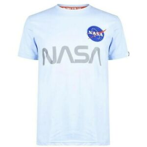 Alpha Industries Men's NASA Reflective Light Blue T-Shirt Size XL Extra Large