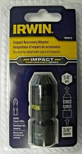 """Irwin 1869512 Impact Accessory Adapter 3/8"""" Square To 1/4 Hex For Screwdiver Bit"""