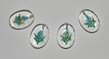 VINTAGE CLEAR PLASTIC FLOWER BEAD PENDANT CHARM OVAL •18x13 FOUR STYLES IN STOCK