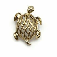 Vintage Gold Tone Open Work Turtle Fashion Brooch Scarf Lapel Pin 1.25 Inch