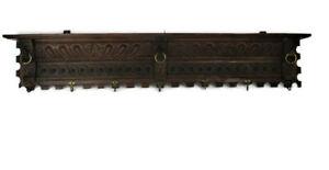 Antique Hand Carved Dark Wood  Wall Shelf Coat Kitchen Rack  Lion Heads WOW