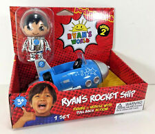 "NEW Ryan's World 3"" Action FIGURE & VEHICLE Racer Blue ROCKET SHIP Space Car Toy"