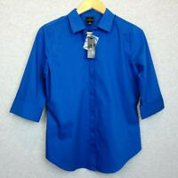 New Worthington Womens Size Small Blouse Top Shirt 3/4 Sleeves Cayman Blue NWT