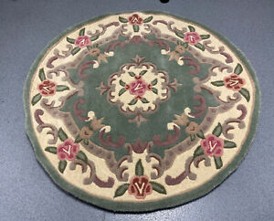 Lotus Premium Dynasty Wool Aubusson Green Rug by Flair Rugs 120 x 120 CM  NEW