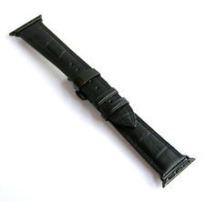 Black Leather Watch Band Strap w Black Butterfly Clasp for Apple iWatch2 42mm