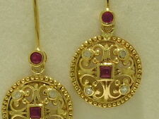 EBd52 Gorgeous 9ct Gold NATURAL Ruby & Diamond Fleur-de-lis Drop Earrings Dangle