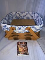 1999 Longaberger Cake Basket with Cottage Trellis Liner and Wood Riser