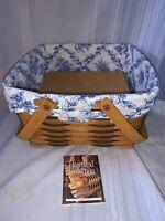 1999 Longaberger Cake Basket with Cottage Trellis Liner and Wood Riser