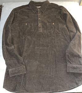 Territory Ahead Men's Long Sleeve Corduroy 4 Button Collared Shirt NEW XXL