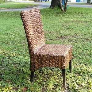 Rattan Cane Wicker Dining Side Accent Chair Wood Frame Modern Country Style