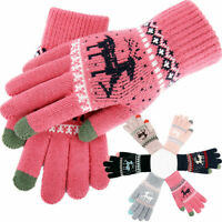 Feel Screen Winter Gloves Women Warm Knit Thermal Insulated Christmas Gifts US
