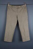 Talbots Ivory Brown Tan Geometric Flat Front Cropped Capri Pants Size 6