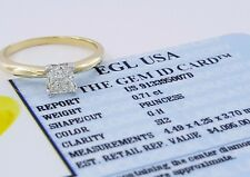 0.71ct 14K Yellow Gold Princess Diamond Engagement Solitaire Ring EGL Rtl $4,095
