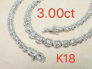 Unbranded Natural 3ct Diamond K18WG Tennis Necklace