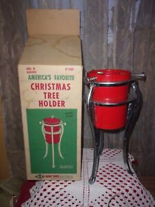 """vintage Handy Things 5"""" cup collapsible live Christmas tree holder red IOB VGC"""