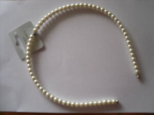 IVORY/CREAM FAUX PEARL HAIRBAND WEDDING PROM PARTY NEW
