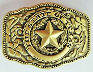 WESTERN STAR STATE OF TEXAS BRASS RODEO FLAG COWBOY BELT BUCKLE
