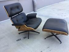 EAMES STYLE PLYWOOD PALISANDER LOUNGE BLACK LEATHER CHAIR & OTTOMAN
