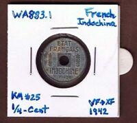 French Indochina (1942) SCARCE !!! ¼-Cent {SINGLE} VF>XF Zinc Coin: KM#25