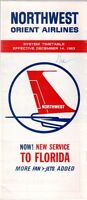 NORTHWEST ORIENT AIRLINES SYSTEM TIMETABLE DECEMBER 1963 NW