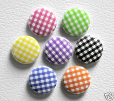 7 GINGHAM PRINT Buttons Pins Badges 1 inch Set Color