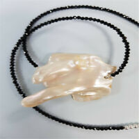 15-18mm Pink Baroque Pearl and Black Spinel Beads Necklace 18inch Aurora