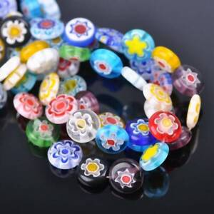 6mm 8mm 10mm 12mm Flat Round Mixed Millefiori Glass Loose Beads Wholesale lot