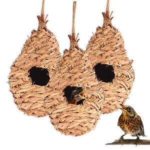 3x Vogelnest Stroh Gras Vogelhaus Nistkasten Nisthilfe für Vögel Rotkehlchen