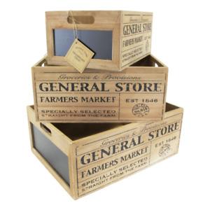 Vintage General Store  - Set of 3 Chalkboard Crates