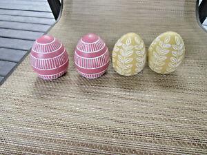 Set Of 4 Pier 1 Painted Wood Easter Tan & Pink Self Standing Eggs
