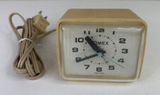 """Vintage Timex Alarm Clock USA Yellow 3-1/2"""" x 3"""" TESTED WORKING"""